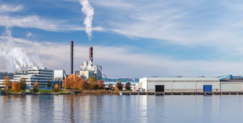 Paysage industriel panoramique, Skogn image stock