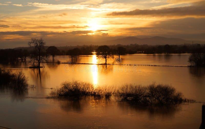 Paysage inondé de Worcestershire photographie stock libre de droits