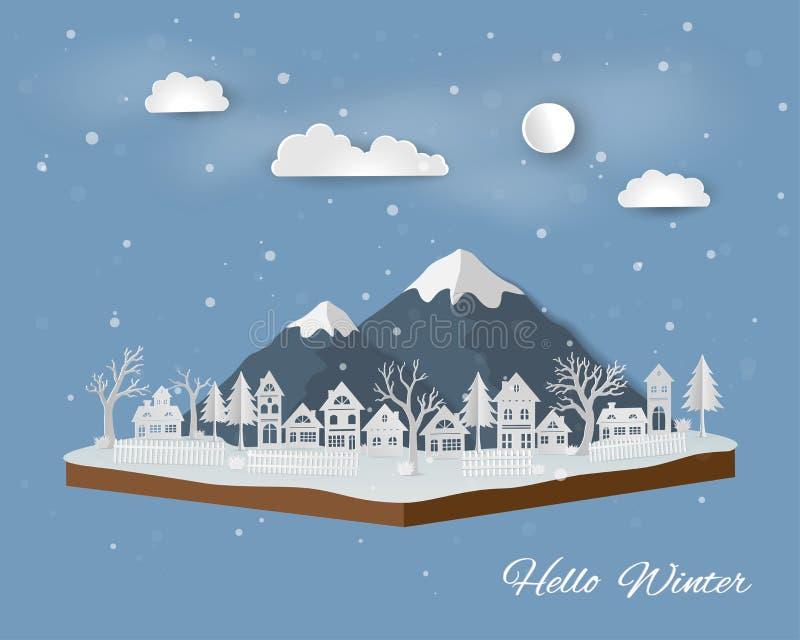 Paysage isométrique avec la campagne dans la saison d'hiver illustration de vecteur