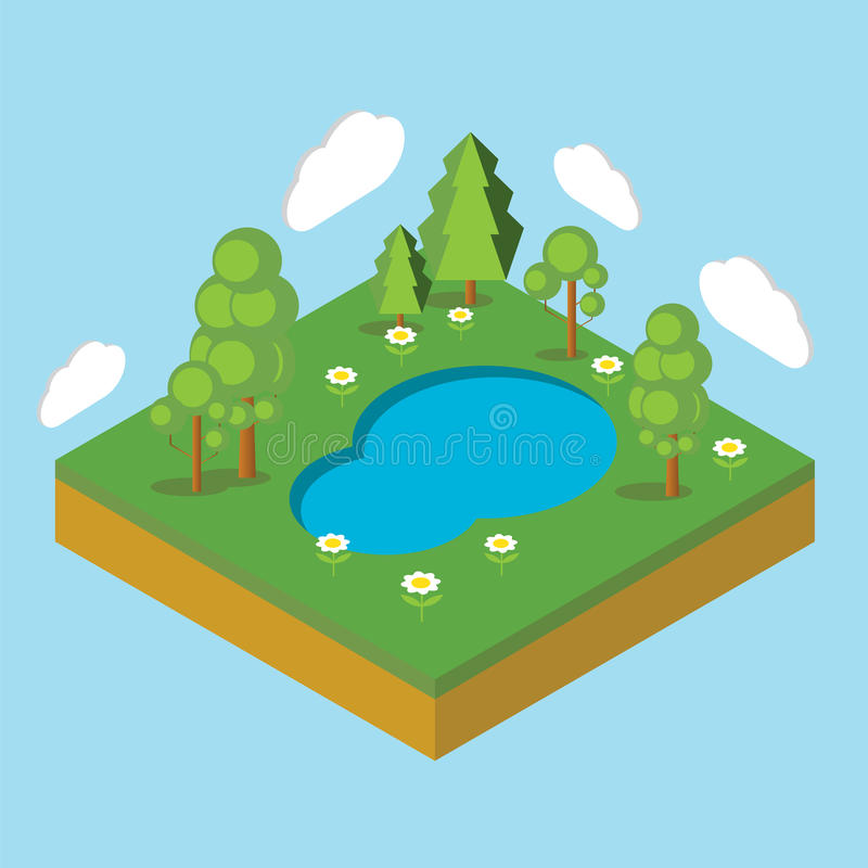 Paysage isométrique Illustration de vecteur Vecteur courant illustration stock