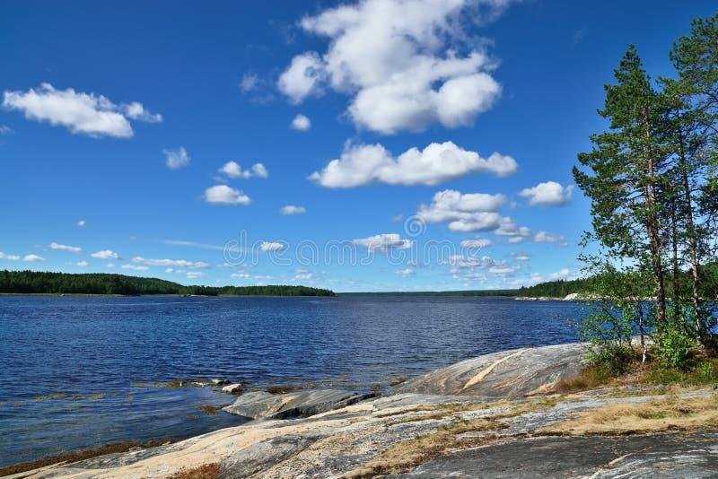 Paysage karélien - roches, pins et eau Baie Chupa, mer blanche, Carélie, Russie photos stock