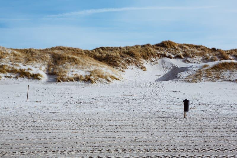 Paysage large de plage sablonneuse sur Amrum, Allemagne images libres de droits