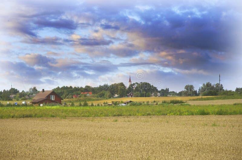 Download Paysage Lithuanien De Campagne Avec Un Village De Musninkai à Un Arrière-plan Photo stock - Image du ferme, arbres: 77160544