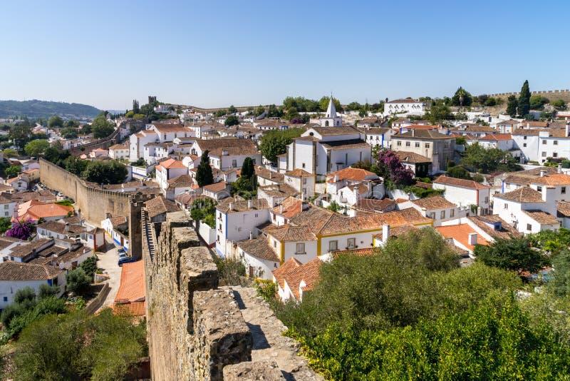 Paysage médiéval d'Obidos de ville image stock