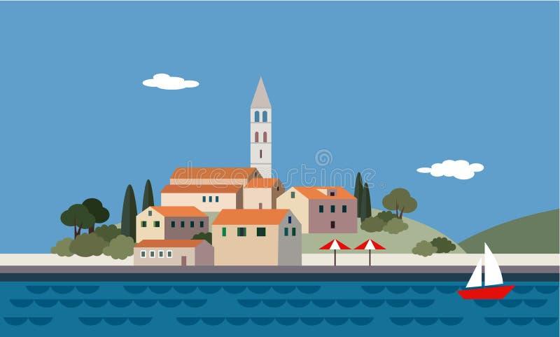 Paysage méditerranéen par la mer, peu de ville, station de vacances, plage, illustration de vecteur