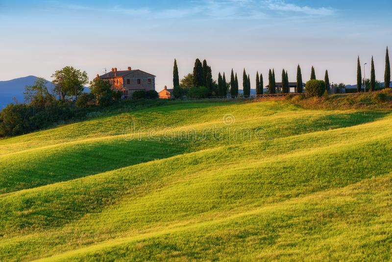 Paysage magnifique de ressort au lever de soleil Belle vue de maison toscane typique de ferme, collines de vague verte images libres de droits