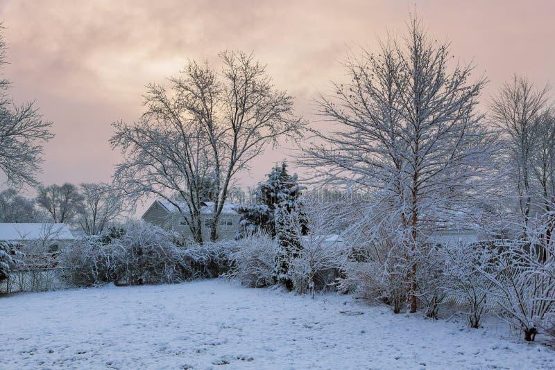 Paysage majestueux d'hiver rougeoyant par lumière du soleil le matin Scène hivernale dramatique photo libre de droits