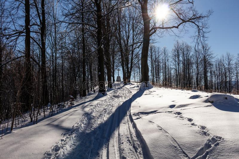 Paysage majestueux d'hiver rougeoyant par lumière du soleil pendant le matin Scène hivernale dramatique photo libre de droits