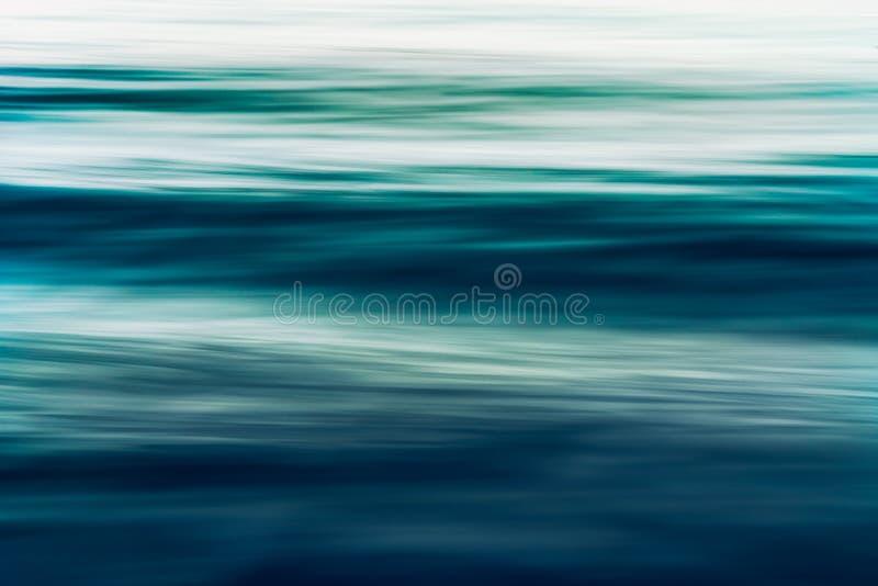 Paysage marin abstrait de fond, tache floue de mouvement, longue exposition Bleu, couleurs de turquoise photographie stock libre de droits