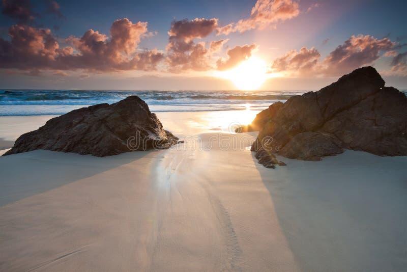 Paysage marin australien au lever de soleil images stock