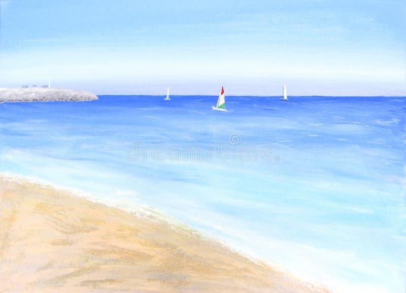 Paysage marin avec des voiliers, acrylique peint ? la main sur la toile illustration libre de droits