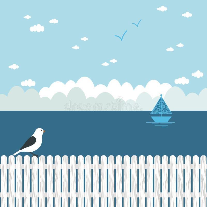 Paysage marin bleu illustration de vecteur