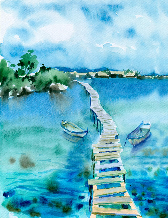 Paysage marin d'aquarelle illustration stock
