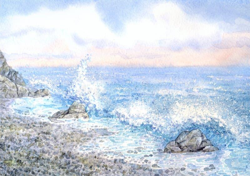 Paysage marin d'aquarelle surf photos stock
