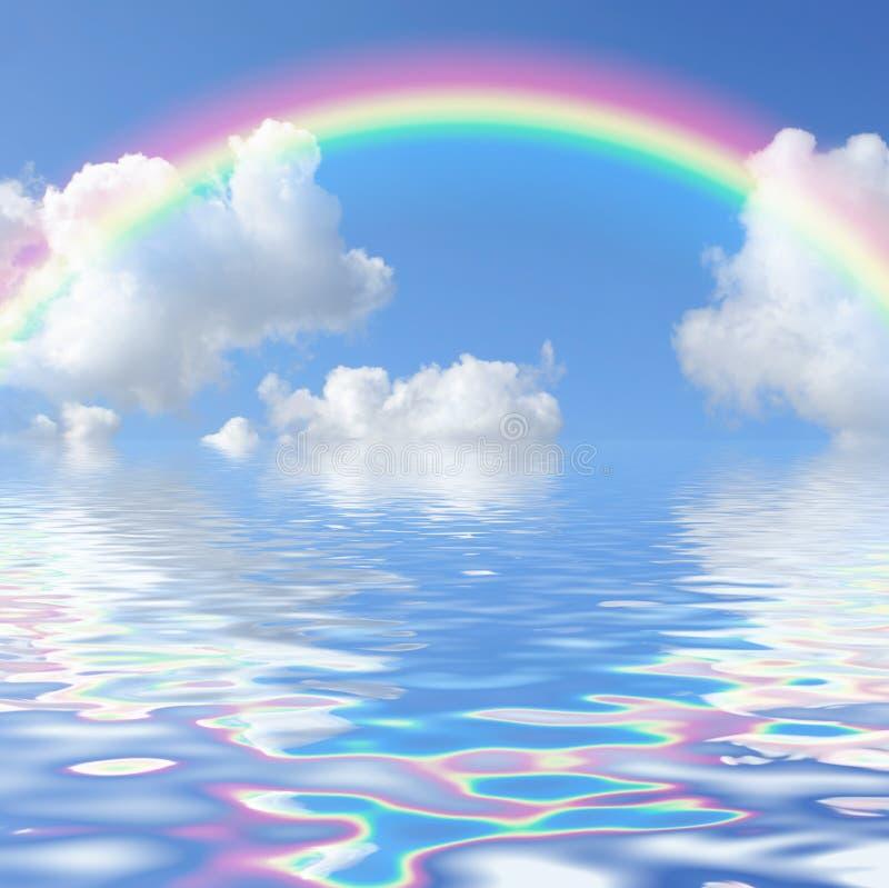 Paysage marin d'arc-en-ciel illustration de vecteur