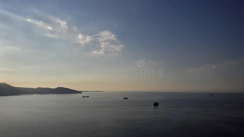 Paysage marin de coucher du soleil image stock