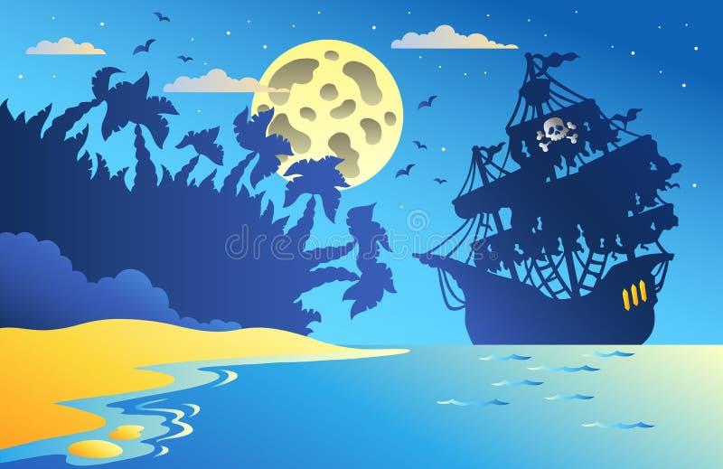 Paysage marin de nuit avec le bateau de pirate 2 illustration stock