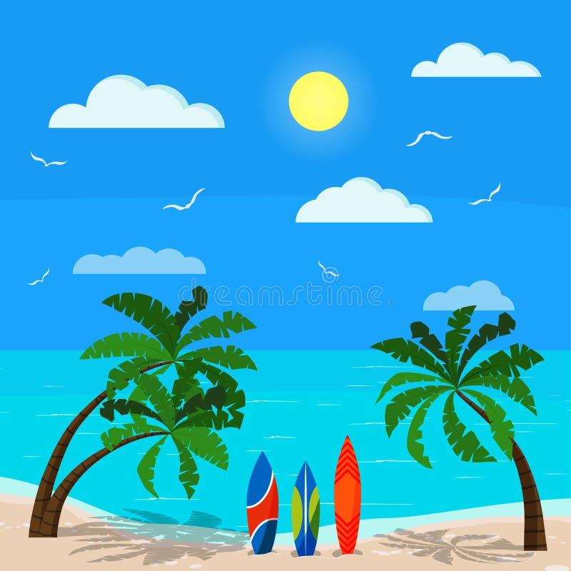 Paysage marin ensoleillé avec des paumes, océan bleu, littoral de sable, différentes planches de surf, nuages, le soleil, mouette illustration stock