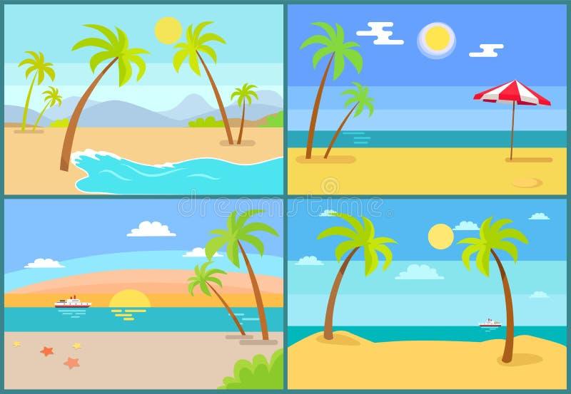 Paysage marin et illustration de vecteur de collection de paumes illustration de vecteur