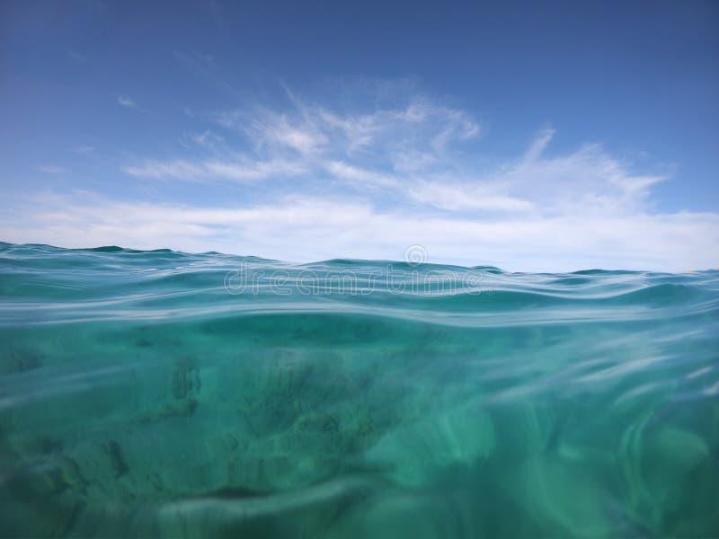 Paysage marin illimité avec les yeux d'un nageur en mer ouverte images libres de droits