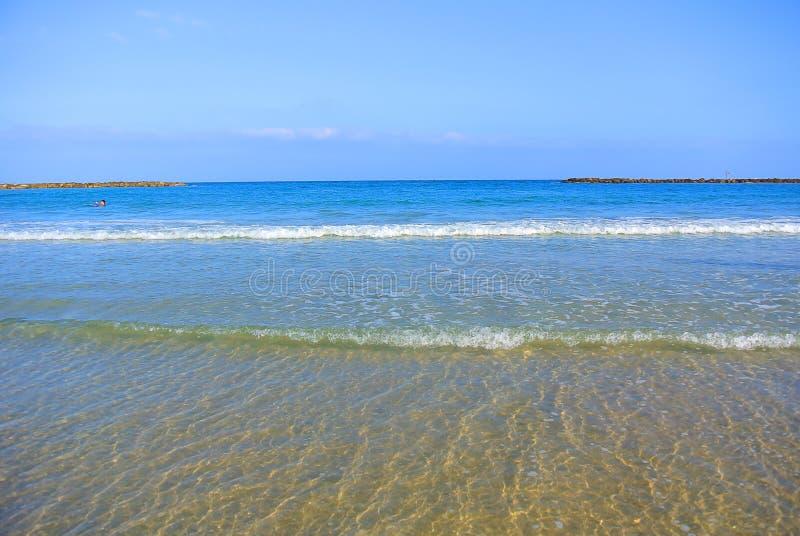 Paysage marin La mer Méditerranée La plage de Tel Aviv l'israel image libre de droits