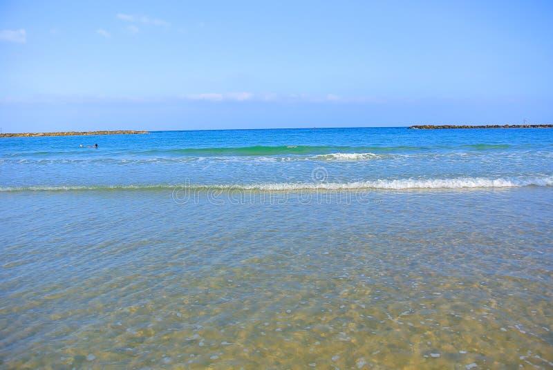 Paysage marin La mer Méditerranée La plage de Tel Aviv l'israel images libres de droits