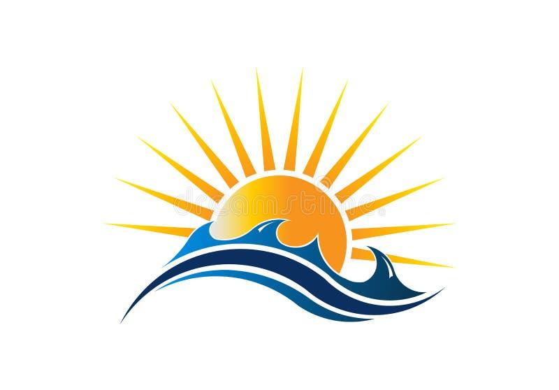 Paysage marin Logo Vector Illustration de soleil illustration de vecteur