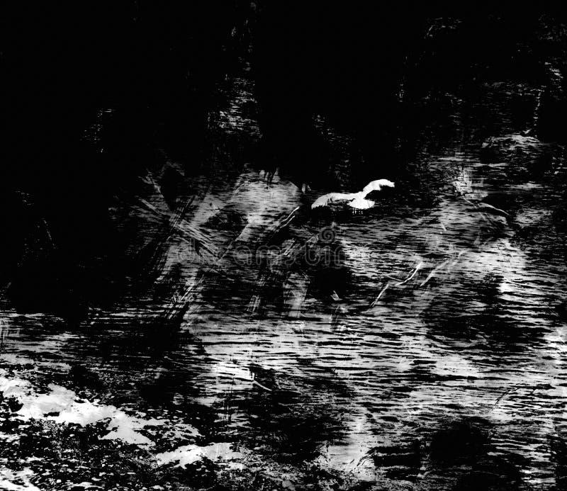 Paysage marin stylisé avec la mouette de vol, ondulation, roche, littoral dans la conception noire et blanche illustration stock