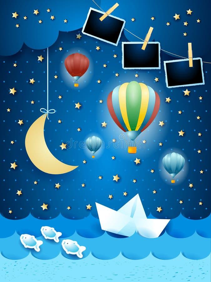Paysage marin surréaliste par nuit avec des cadres de photo, art de papier illustration de vecteur