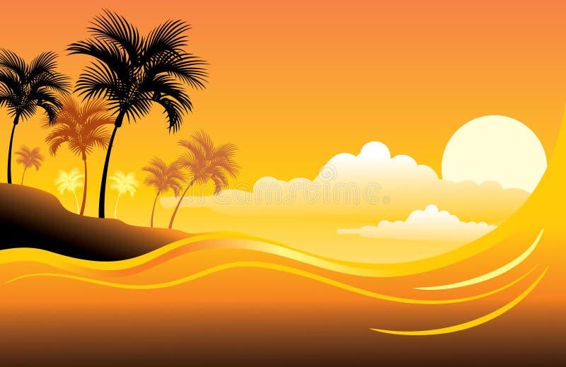 Paysage marin tropical de coucher du soleil illustration de vecteur