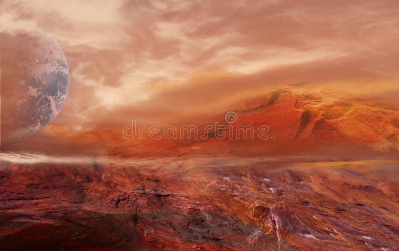 Paysage martien fantastique La planète endommage illustration libre de droits