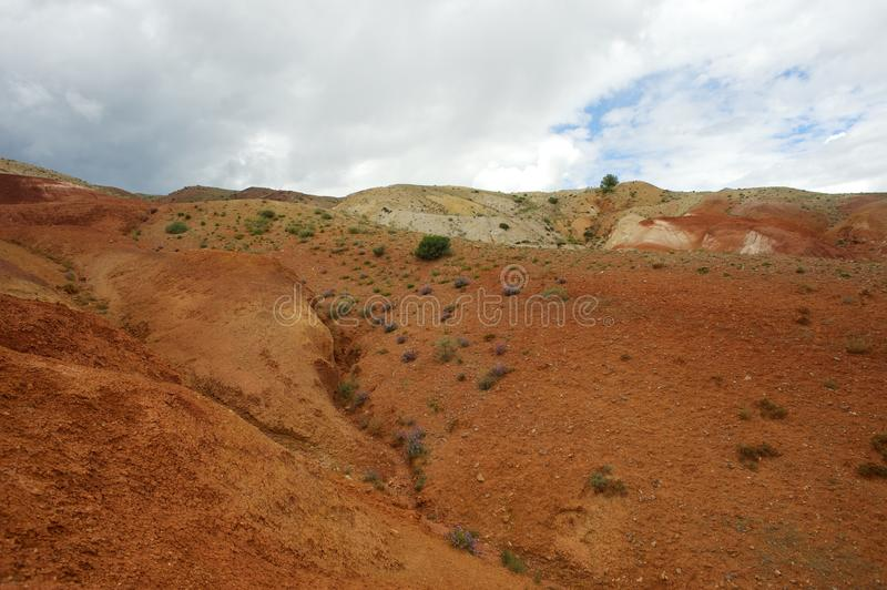 Paysage martien fantastique mars Montagnes rouges photos stock