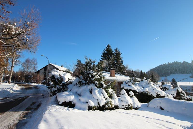 Paysage merveilleux d'hiver de ma ville photographie stock