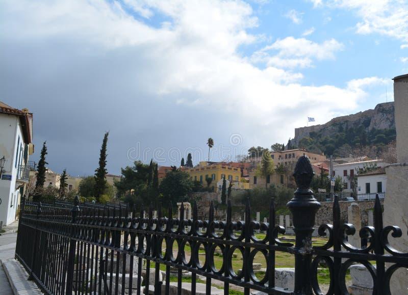 Paysage merveilleux la la ville d'Athènes images libres de droits
