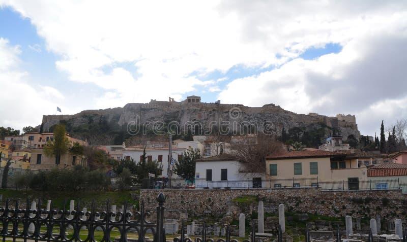 Paysage merveilleux la la ville d'Athènes et d'Acropole photos libres de droits