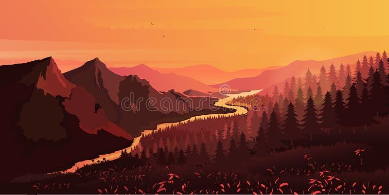 Paysage Montagnes, monter ou s'asseoir le soleil, vecteur illustration stock