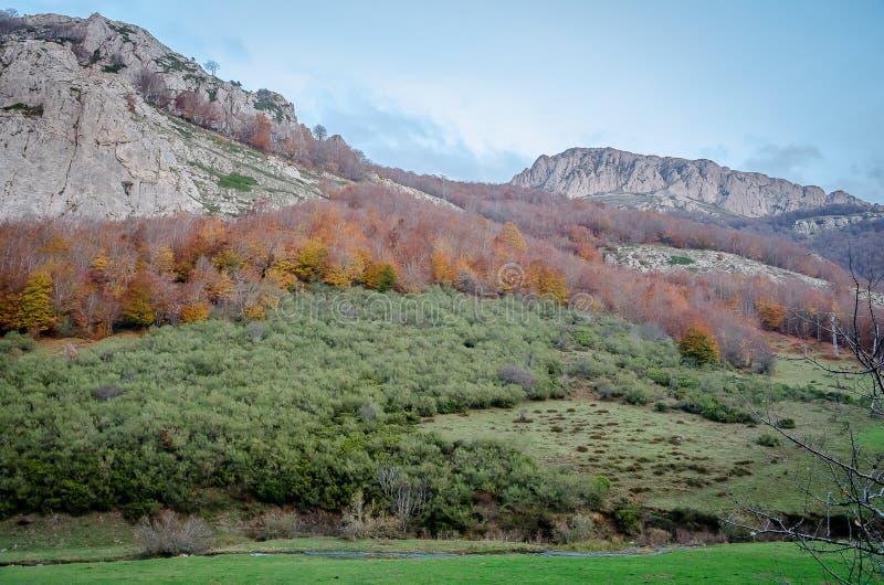 Paysage montagneux du parc naturel de Fuentes Carrionas image stock