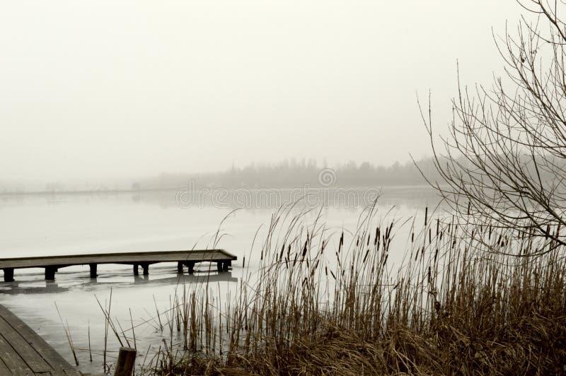 Paysage, nature, lac, hiver, ciel, roseaux, pont en bois, sepi photographie stock