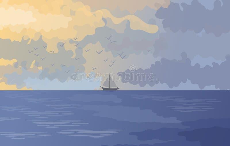 Paysage naturel avec la mer et le ciel et un petit bateau à voile à l'arrière-plan Illustration illustration libre de droits