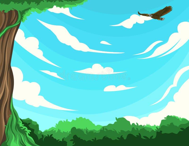 Paysage naturel avec la vue de ciel bleu et d'aigle illustration de vecteur