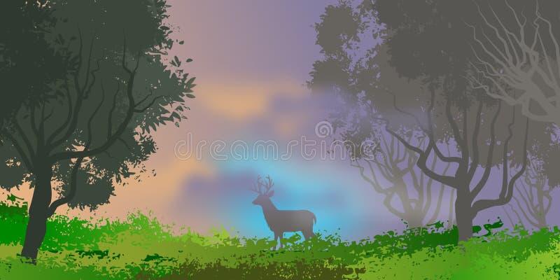 Paysage naturel avec le verger et les arbres dans le premier plan Illustration dense de for?t illustration de vecteur