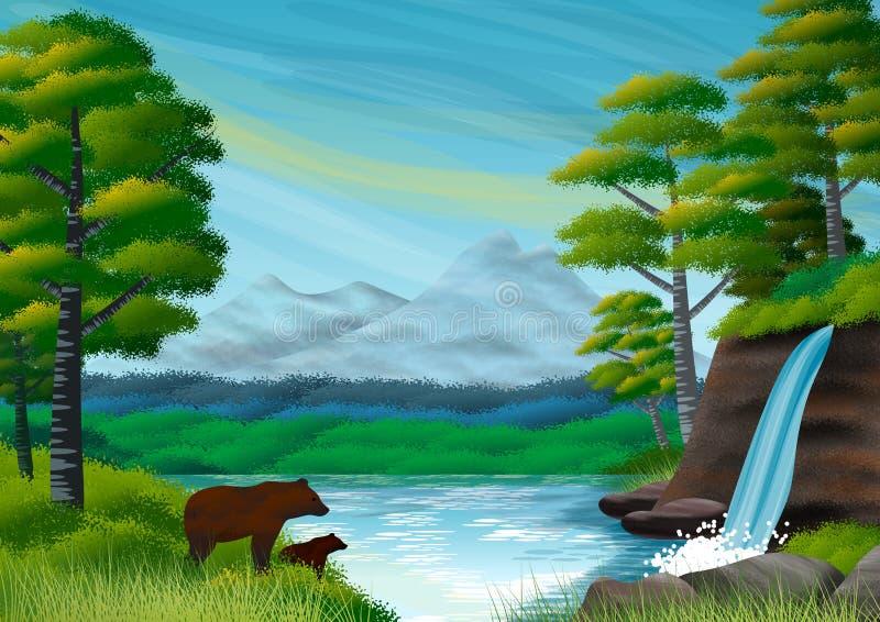 Paysage naturel avec les montagnes, la for?t, les arbres, le lac et la cascade Ours toujours en silhouette illustration libre de droits