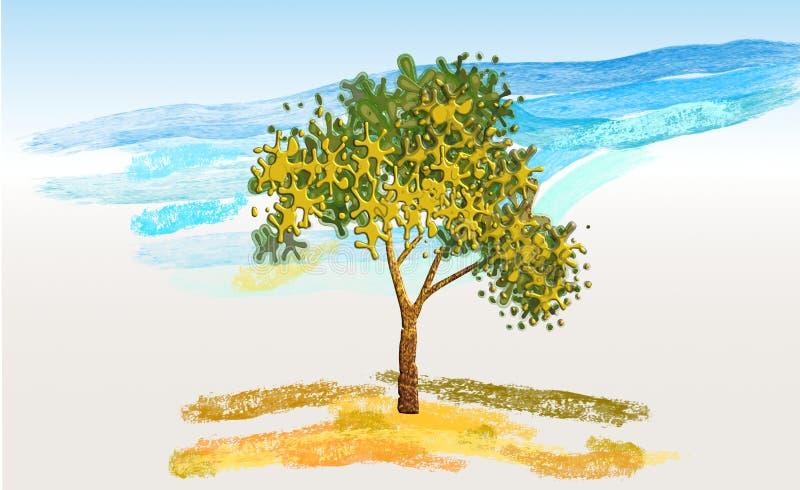 Paysage naturel d'arbre avec la rivière en couleurs illustration libre de droits