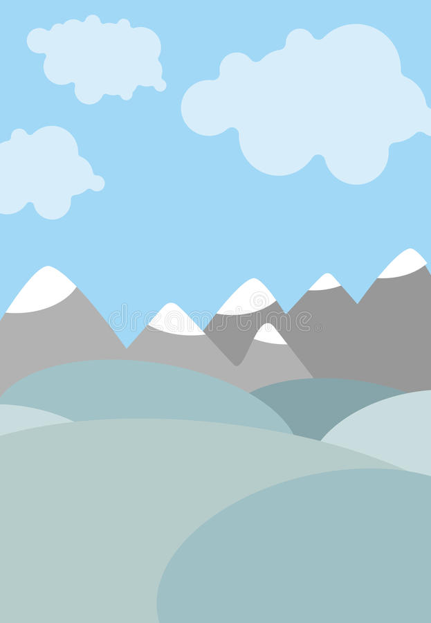 Paysage naturel de bande dessinée Ciel avec des nuages Montagnes et zones illustration stock