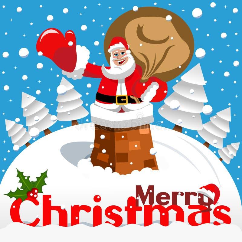 Paysage neigeux de cheminée de Santa Claus de carte de Joyeux Noël illustration de vecteur