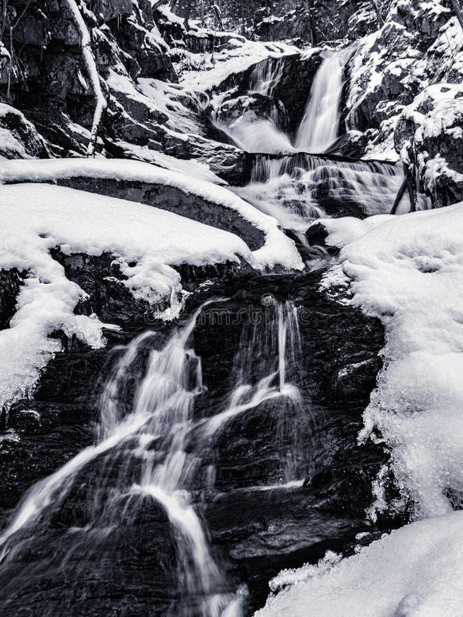 Paysage noir et blanc d'automne de l'eau d'hiver du ruisseau F de Sanderson photographie stock