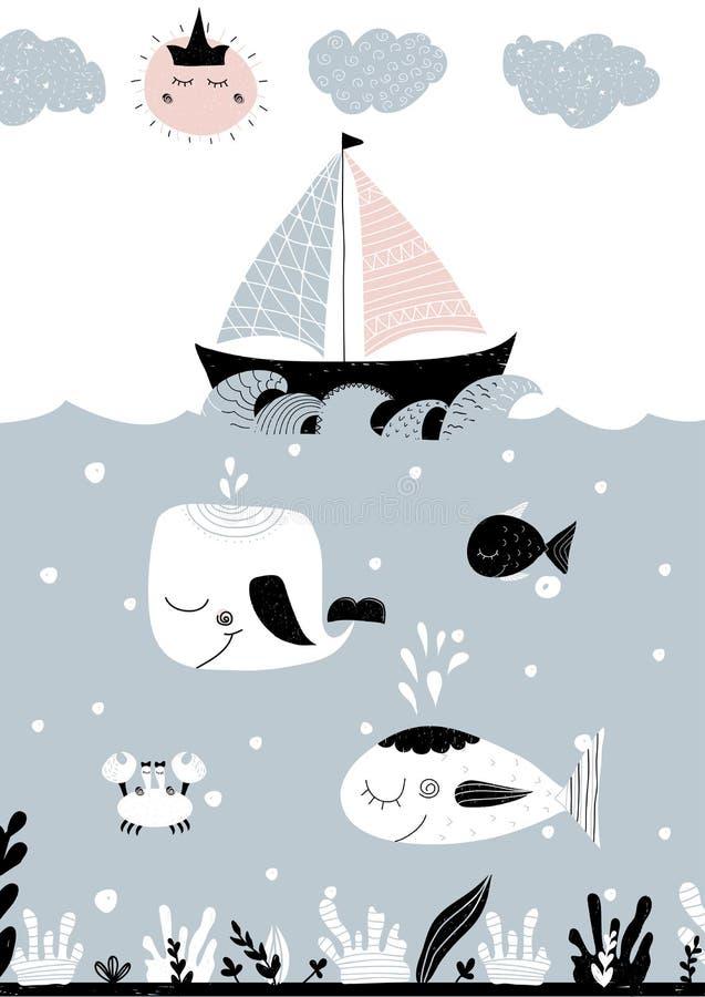 Paysage océanique tiré par la main avec les créatures, le bateau, le soleil et les nuages sous-marins illustration stock
