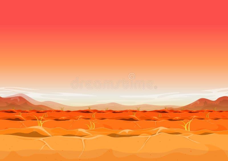 Paysage occidental lointain sans couture de désert pour le jeu d'Ui illustration de vecteur