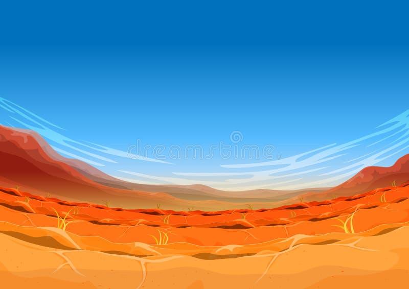 Paysage occidental lointain sans couture de désert pour le jeu d'Ui illustration stock