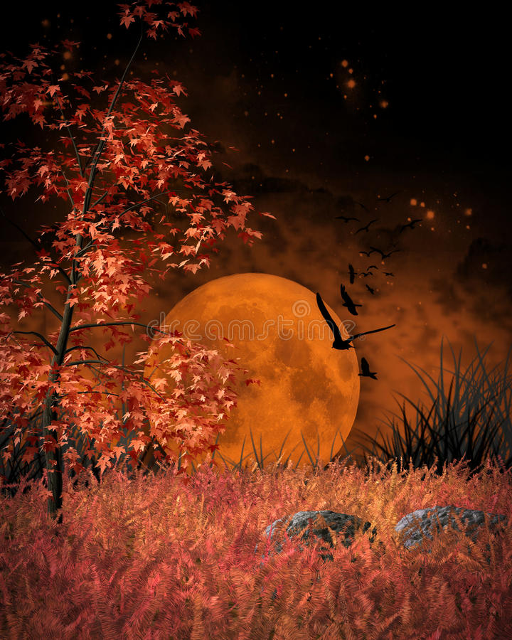 Paysage orange de lune illustration libre de droits